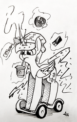 Size: 756x1200 | Tagged: safe, artist:underpable, princess luna, alicorn, pony, cellphone, coffee, cute, drinking, female, fidget spinner, frappuccino, hat, inktober, levitation, lineart, looking down, lunabetes, magic, mare, millennial, monochrome, phone, simple background, solo, starbucks, straw, swegway, telekinesis, traditional art, unicorn frappuccino, vape, vaping, white background