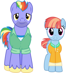 Size: 9502x10571 | Tagged: absurd res, artist:pink1ejack, bow hothoof, duo, father, father and mother, female, male, mare, mother, mother and father, parental glideance, pony, rainbow dash's parents, safe, simple background, smiling, stallion, transparent background, vector, windyhoof, windy whistles