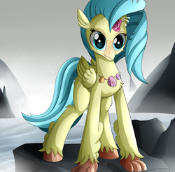 Size: 3150x3100   Tagged: safe, artist:orangejuicerus, princess skystar, classical hippogriff, hippogriff, my little pony: the movie, female, rock, smiling, solo, this will end in grounding, water