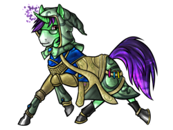 Size: 1600x1200 | Tagged: artist needed, safe, oc, oc only, oc:crescent star, crystal pony, pony, unicorn, ponyfinder, armor, crystal unicorn, dungeons and dragons, glasses, hood, male, pen and paper rpg, potions, rpg, solo, stallion