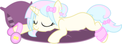 Size: 1325x488 | Tagged: safe, artist:xenoneal, oc, oc only, oc:aurora, pony, unicorn, .svg available, cute, female, headphones, leg warmers, mare, pillow, prone, simple background, sleeping, solo, svg, transparent background, vector