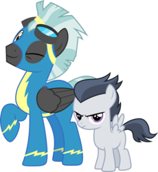 Size: 3001x3260   Tagged: safe, artist:cloudyglow, rumble, thunderlane, pegasus, pony, marks and recreation, .ai available, annoyed, brothers, clothes, colt, cute, duo, duo male, foal, frown, goggles, male, one eye closed, raised hoof, rumblebetes, simple background, smiling, stallion, thunderbetes, transparent background, unamused, uniform, vector, wink, wonderbolts uniform
