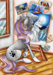 Size: 2408x3408 | Tagged: safe, artist:lunar-white-wolf, princess luna, oc, oc:purple breeze, wolf, easel, paintbrush, painting, traditional art