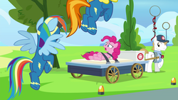 Size: 1920x1080 | Tagged: ambulance, baseball cap, bound, cap, clothes, cloud, earth pony, female, first aid kit, hat, male, mare, medic, paramedic, pegasus, pinkie pie, pj, pony, rainbow dash, restrained, restraints, runway, safe, screencap, secrets and pies, shirt, spitfire, stallion, straps, tree, uniform, wagon, wonderbolts headquarters, wonderbolts uniform