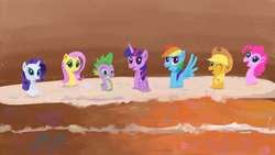 Size: 1920x1080 | Tagged: alicorn, applejack, artist:sycreon, cake, derpibooru exclusive, dragon, fluttershy, food, frosting, happy birthday mlp:fim, looking at you, mane seven, mane six, mlp fim's seventh anniversary, pinkie pie, rainbow dash, rarity, safe, spike, twilight sparkle, twilight sparkle (alicorn)