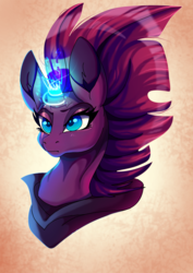 Size: 2268x3200 | Tagged: safe, artist:plaguedogs123, tempest shadow, unicorn, my little pony: the movie, broken horn, bust, eye scar, female, glowing horn, horn, mare, scar, solo, sparking horn