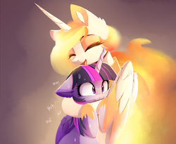 Size: 1430x1170   Tagged: safe, artist:magnaluna, nightmare star, twilight sparkle, alicorn, pony, colored wings, colored wingtips, cute, cutelestia, eyes closed, female, fire, floppy ears, frown, gradient background, happy, hot, hug, lesbian, mane of fire, mare, nicemare star, open mouth, shipping, smiling, sweat, twiabetes, twightmare star, twilestia, twilight sparkle (alicorn), wide eyes, winghug