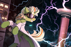 Size: 2310x1540 | Tagged: safe, artist:yakovlev-vad, oc, oc only, oc:electra, pony, action pose, chest fluff, clothes, electricity, goggles, grin, lab coat, laboratory, male, rearing, smiling, solo, stallion, tesla coil