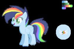 Size: 730x490 | Tagged: safe, artist:electricaldragon, oc, oc only, oc:skylar, pegasus, pony, female, mare, offspring, parent:rainbow dash, parent:soarin', parents:soarindash, rainbow hair, reference sheet, simple background, solo, transparent background