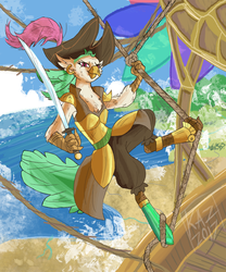 Size: 1500x1800 | Tagged: safe, artist:sun-shimmer, captain celaeno, bird, parrot, parrot pirates, anthro, my little pony: the movie, airship, amputee, female, hat, looking at you, pirate, pirate hat, sky, smiling, solo, sword, weapon