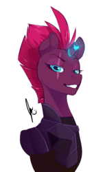 Size: 2755x4417 | Tagged: safe, artist:xcolorblisssketchx, tempest shadow, pony, unicorn, my little pony: the movie, armor, broken horn, bust, eye scar, female, glowing horn, horn, looking at you, mare, raised eyebrow, scar, simple background, smiling, solo, sparking horn, white background