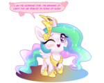 Size: 1301x1041 | Tagged: alicorn, artist:pencils, blushing, chibi, crown, cute, cutelestia, horseshoes, hug request, jewelry, one eye closed, open mouth, pony, princess celestia, raised hoof, regalia, safe, simple background, solo, text, transparent background, wink, younger