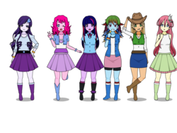 Size: 800x600 | Tagged: alternate hairstyle, applejack, artist:sarahfaded510, boots, clothes, equestria girls, female, fluttershy, human, humanized, kisekae, mane six, pinkie pie, rainbow dash, rarity, safe, shoes, simple background, skirt, socks, transparent background, twilight sparkle