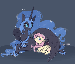 Size: 700x594 | Tagged: alicorn, artist:kiyoon, blushing, crack shipping, female, fluttermoon, fluttershy, horseshoes, hug, lesbian, mare, nicemare moon, nightmare moon, pegasus, pony, prone, safe, shipping, winghug