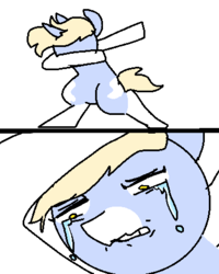 Size: 368x460 | Tagged: safe, artist:nootaz, oc, oc only, oc:nootaz, pony, unicorn, semi-anthro, 2 panel comic, bipedal, comic, crying, dab, female, gritted teeth, looking down, mare, meme, messy hair, sad, sad dab, simple background, solo, teary eyes, teeth, wavy mouth, white background, wide eyes