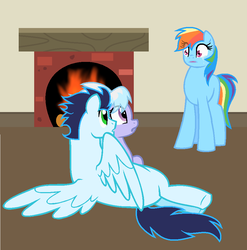 Size: 925x937 | Tagged: artist:kookiebeatz, cloudchaser, crying, female, fireplace, implied infidelity, implied shipping, implied soarindash, implied straight, male, pony, rainbow dash, safe, shipping, shocked, soarin', soarinchaser, soarindash, straight