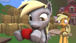 Size: 3840x2160 | Tagged: 3d, apple, applejack, artist:goatcanon, bat ponified, bat pony, bats!, cute, derpybat, derpy hooves, food, race swap, safe, source filmmaker, sweet apple acres