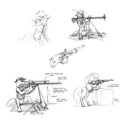 Size: 1112x1144 | Tagged: safe, artist:baron engel, oc, oc only, unnamed oc, earth pony, pony, black and white, concept art, female, grayscale, gun, hat, hooves, male, mare, monochrome, optical sight, pencil drawing, rifle, simple background, sketch, sniper, sniper rifle, solo, stallion, text, traditional art, weapon, white background