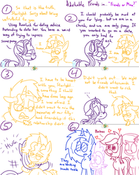 Size: 1280x1611 | Tagged: adorkable friends, adorkable twilight and friends, artist:adorkabletwilightandfriends, carrot, comic, dj pon-3, female, food, lily, lily valley, male, pony, roseluck, safe, spike, starlight glimmer, sunburst, vinyl scratch