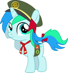 Size: 6651x7102 | Tagged: safe, artist:cyanlightning, oc, oc only, oc:cyan lightning, unicorn, .svg available, absurd resolution, badge, colt, cyan's filly guides, filly guides, hat, looking at you, male, ribbon, salute, simple background, solo, transparent background, vector