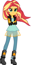 Size: 1000x2055   Tagged: safe, artist:uponia, sunset shimmer, equestria girls, friendship games, boots, clothes, crossed arms, female, high heel boots, jacket, pants, serious, serious face, shirt, shoes, simple background, solo, transparent background, vector