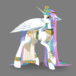 Size: 4093x4093 | Tagged: alicorn, artist:faline-art, cleopatra, clothes, costume, egyptian, female, gray background, jewelry, makeup, mare, nightmare night costume, pony, princess celestia, regalia, safe, simple background, solo
