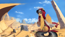 Size: 1920x1080 | Tagged: safe, artist:discordthege, daring do, pegasus, pony, archeologist, clothes, desert, female, goggles, headdress, headset, keffiyeh, looking at you, looking back, looking back at you, mare, pyramid, ruins, scenery, side plot, sitting, solo, updated