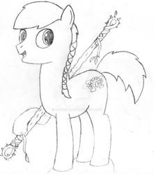 Size: 1024x1156 | Tagged: safe, artist:drcool13, oc, oc only, oc:rebel vanguard, pony, male, monochrome, solo, staff, stallion, traditional art, watermark