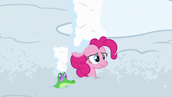 Size: 1280x720 | Tagged: gummy, not asking for trouble, pinkie pie, pony, safe, screencap, snow, spoiler:s07e11