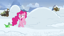 Size: 1280x720 | Tagged: gummy, not asking for trouble, pinkie pie, pony, safe, screencap, snow, spoiler:s07e11, yak