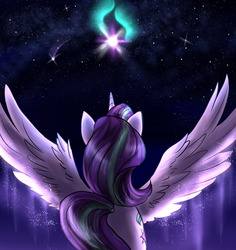 Size: 1888x2000 | Tagged: alicorn, alicornified, artist:stellarway, female, mare, pony, race swap, rear view, safe, solo, spread wings, starlicorn, starlight glimmer, wings, xk-class end-of-the-world scenario