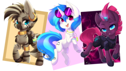 Size: 3073x1744 | Tagged: armor, artist:teranen, broken horn, colored pupils, cute, dj pon-3, ear piercing, eye scar, female, horn, mare, my little pony: the movie, piercing, pony, safe, scar, simple background, smiling, sparking horn, sunglasses, tempestbetes, tempest shadow, transparent background, trio, unicorn, vinylbetes, vinyl scratch, zebra, zecora, zecorable