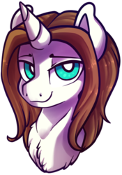 Size: 340x486 | Tagged: safe, artist:breioom, oc, oc only, oc:light landstrider, unicorn, bust, chest fluff, green eyes, long mane, looking at you, male, portrait, seductive, simple background, solo, stallion, transparent background, white fur