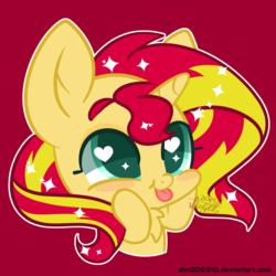 Size: 600x600 | Tagged: artist:snow angel, blep, bust, female, mare, pony, red background, safe, simple background, sunset shimmer, tongue out, unicorn