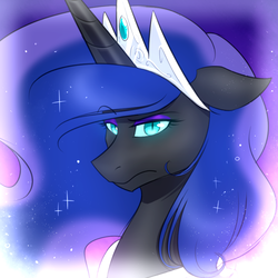 Size: 1000x1000 | Tagged: artist:goombot, crown, eyeshadow, female, floppy ears, jewelry, looking at you, makeup, mare, nightmare moon, pony, regalia, safe, slit eyes, solo