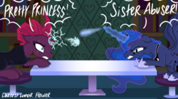 Size: 6201x3445 | Tagged: safe, artist:darkest-lunar-flower, princess luna, tempest shadow, alicorn, pony, unicorn, my little pony: the movie, adventure in the comments, angry, clothes, female, fight, irony, magic, mare, pretty pony, pretty pretty tempest, scowl