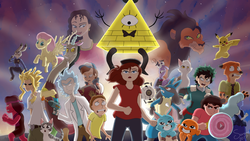 Size: 2048x1152   Tagged: safe, artist:skybluearts, discord, fluttershy, fox, lucario, pikachu, all might, banner, bill cipher, chi, chi's sweet home, crossover, darwin watterson, dipper pines, fear (inside out), gravity falls, gumball watterson, inside out, izuku midoriya, judy hopps, morty smith, mother gothel, multiverse, my hero academia, nick wilde, pixar, pokémon, portal (valve), rick and morty, rick sanchez, ruby (steven universe), sapphire (steven universe), scar (the lion king), space core, spottedleaf, steven quartz universe, steven universe, tangled (disney), the amazing world of gumball, the lion king, warrior cats, zootopia