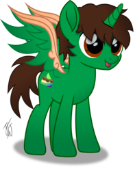 Size: 2889x3662 | Tagged: safe, artist:mlp-scribbles, oc, oc only, oc:frost d. tart, alicorn, pony, alicorn oc, colored wings, green coat, high res, inkscape, male, movie accurate, multicolored wings, ponyscape, simple background, solo, stallion, transparent background, vector