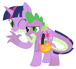 Size: 2376x2140 | Tagged: safe, artist:mlpconjoinment, spike, twilight sparkle, dragon, pony, unicorn, conjoined, fusion, halloween, holiday, multiple heads, nightmare night, one eye closed, simple background, transparent background, two heads, we have become one, what has magic done, wink