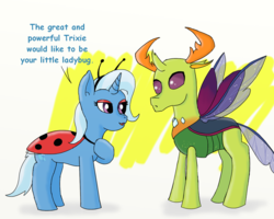 Size: 1250x1000 | Tagged: artist:eulicious, changedling, changeling, clothes, costume, dialogue, female, king thorax, ladybug, male, mare, pony, safe, shipping, simple background, straight, text, thorax, thoraxie, trixie, unicorn