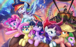 Size: 3303x2038   Tagged: safe, artist:tcn1205, applejack, captain celaeno, fluttershy, mullet (character), pinkie pie, rainbow dash, rarity, spike, twilight sparkle, alicorn, dragon, earth pony, parrot pirates, pegasus, pony, unicorn, my little pony: the movie, airship, color porn, featured image, female, hat, mane seven, mane six, mare, pirate, pirate hat, rainbow, sky, sweet dreams fuel, twilight sparkle (alicorn)