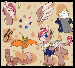 Size: 1024x920 | Tagged: safe, artist:cloureed, oc, oc only, oc:ace, oc:cinnamon, oc:strawberry breeze, fruit bat, mink, pegasus, pony, clothes, reference sheet