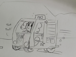 Size: 1560x1169 | Tagged: artist:tjpones, black and white, bubble, car, driving, earth pony, food, grayscale, ice cream, ice cream truck, monochrome, onomatopoeia, pinkie pie, pony, safe, speed lines, traditional art, truck