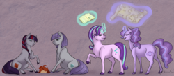 Size: 1784x788 | Tagged: artist:ganashiashaka, book, curved horn, earth pony, family, female, lesbian, magic, magical lesbian spawn, map, mare, maud pie, oc, oc:amethyst swirl, oc:chalcocite quartz, offspring, parent:maud pie, parents:starmaud, parent:starlight glimmer, pony, safe, shipping, sitting, starlight glimmer, starmaud, unicorn, vase