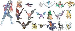 Size: 768x321   Tagged: safe, artist:misochikin, artist:wolf, rainbow dash, aerodactyl, altaria, beedrill, braviary, castform, crobat, dragonite, hawlucha, jolteon, ninjask, pidgeot, staraptor, swellow, talonflame, torkoal, zebstrika, equestria girls, crossover, decidueye, garchomp, pokémon, pokémon trainer