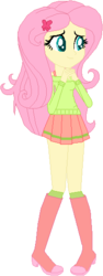 Size: 205x546 | Tagged: safe, artist:lucy-tan, artist:selenaede, artist:wolf, fluttershy, equestria girls, alternate costumes, alternate hairstyle, base used, boots, clothes, cute, hairpin, high heel boots, pleated skirt, shoes, shyabetes, simple background, skirt, solo, sweater, sweatershy, white background
