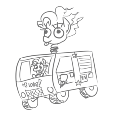 Size: 470x444 | Tagged: artist:jargon scott, car, driving, earth pony, food, grayscale, ice cream, ice cream truck, mask, monochrome, pinkie being pinkie, pinkie pie, pony, safe, simple background, solo, sweet tooth (twisted metal), truck, twisted metal, white background