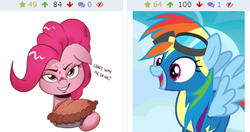 Size: 426x225 | Tagged: artist:saturdaymorningproj, derpibooru, juxtaposition, meta, pie, pinkie pie, pun, rainbow dash, safe, that pony sure does love pies