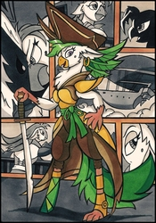 Size: 1638x2334 | Tagged: safe, artist:canvymamamoo, captain celaeno, bird, parrot, parrot pirates, anthro, my little pony: the movie, airship, amputee, beauty mark, clothes, ear piercing, earring, female, hat, jewelry, marker drawing, piercing, pirate, pirate hat, prosthetic limb, prosthetics, smiling, solo, sword, traditional art, weapon, zeppelin