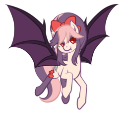 Size: 1000x907 | Tagged: artist:robbiecave, bat pony, bat pony oc, female, gift art, mare, oc, oc only, oc:sweet velvet, pony, safe, simple background, smiling, solo